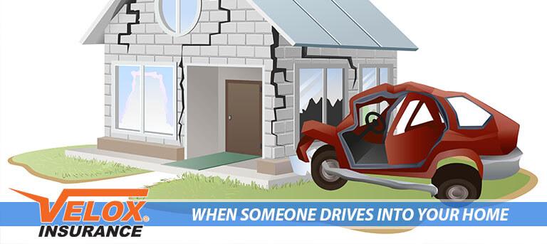 Car crashing into a house