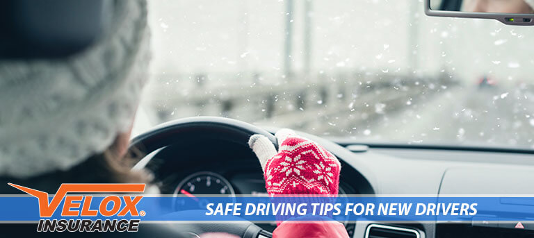 Teenager driving in winter